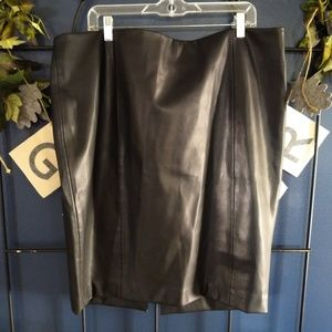 Boutique Brand Vegan Leather Black Skirt, Size 20W
